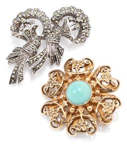 Sale 9145 - Lot 314 - TWO VINTAGE SILVER STONE SET BROOCHES; antique style sterling silver gilt set with a 12mm round cabochon turquoise, fitting with Hun...