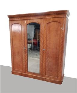 Sale 9162 - Lot 1002 - Victorian satinwood wardrobe, with central mirror panel door, flanked by two timber panel doors