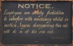 Sale 9174 - Lot 1093 - Hand painted warning sign (h:27 x w:43cm)