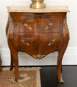 Sale 9248H - Lot 225 - A Pair of French marble top bombe bedside cabinets. 64 x 74 x 36cm