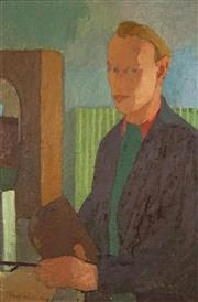 Sale 8459 - Lot 588 - Rolf Rosenberg (1921 - 2005) - Self Portrait, 1947 63.5 x 42cm