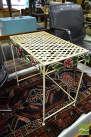 Sale 8499 - Lot 1681 - Metal Side Table with Floral Motifs