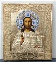 Sale 8562A - Lot 36 - A late C19th gilt framed Russian Icon with Christ Pantocrator, H 32 x W 27cm, with cloisonné detail
