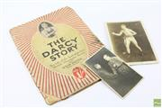 Sale 8618 - Lot 33 - Les Darcy - copy of The Darcy Story (1916), plus original postcard of Darcy greeting Eddie McGoorty 1915, and pic of K.O. Brown (3)