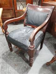 Sale 8714 - Lot 1010 - Solid Victorian Mahogany Armchair, with black upholstery & turned legs