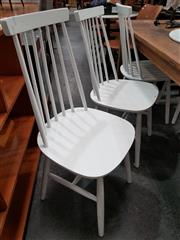 Sale 8724 - Lot 1082 - Set of Six Spindle Back Dining Chairs in White