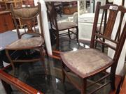 Sale 8740 - Lot 1389 - Two Late Victorian Inlaid Mahogany Side Chairs, with floral inlay & stringing, the upholstery distressed