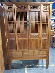 Sale 8740 - Lot 1183 - Oriental Four Door Cabinet with Four Internal Drawers & Three Tiers