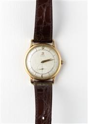 Sale 8770 - Lot 70 - A Vintage 14ct Gold Filled Omega Wristwatch; matte dial, cross hair subsidiary seconds, 17 jewel bumper automatic movement, case dia...