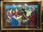 Sale 8776 - Lot 2019 - Patricia Govezensky, Lunching Ladies, decorative print, 55 x 76cm (frame size)