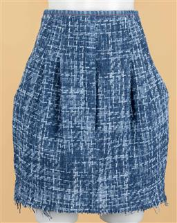 Sale 9250F - Lot 5 - A Philosophy Di Lorenzo Sereafini tweed blue skirt, with detailed red stiching. Size 38 with tags RRP 650