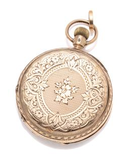 Sale 9260H - Lot 363 - An antique 10ct gold Elgin ladys pocket watch; engraved front and back, with white enamel dial, Roman numerals subsidiary seconds d...