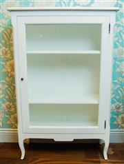Sale 8448A - Lot 83 - White French provincial style display cabinet featuring large glass door front with 3 internal display shelves Condition: Reproduc...