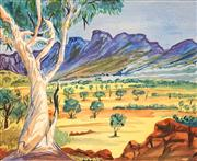 Sale 8565A - Lot 5112 - Harold Malthouse (1952 - 1989) (Hermannsburg School) - Ghost Gum and Rocky Valley 25 x 30cm