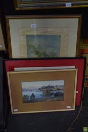 Sale 8569 - Lot 2047 - Group of (3) Assorted Works on Paper; - including Eve Rudd Nude Sketch; Rex River Scene; Vietnamese School framed various size...