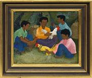 Sale 8716 - Lot 2013 - Anne Marie Graham (1925 - ) - Roosters 18.5 x 21.5cm