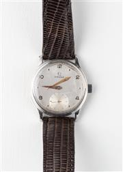 Sale 8775 - Lot 70 - A Vintage Omega Wristwatch; frosted dial, subsidiary seconds, 17 jewel cal. 260 manual movement, stainless steel back, case diam. 33...