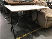 Sale 8782 - Lot 1324 - Rectangular Waterproofed Marble Top Table on Iron Base (H: 72 L: 100 W: 60cm)