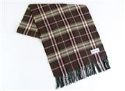 Sale 8857 - Lot 342 - A VINTAGE BURBERRYS CASHMERE SCARF; in brown check, 32 x 143cm incl. fringe.