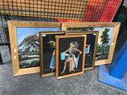 Sale 8853 - Lot 2057 - Group of (5) Assorted Balinese Paintings of Dancers and Countryside -