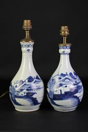 Sale 8897 - Lot 50 - A Pair of Qing Blue and White Bottle Shape Converted Table Lamps (H 31cm)