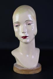 Sale 8923B - Lot 51 - A vintage bust of a flapper lady on timber base. Height 40cm