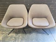 Sale 8967 - Lot 1094 - Pair of Mid-Century Style Fabric Tub Chairs on pedestal base, marked Montage Interiors, (H84 x W74 x D65cm)