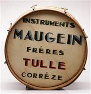 Sale 9064 - Lot 9 - Handpainted Antique French Maugein Freres Drum (Dia58.5cm)