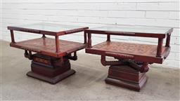 Sale 9102 - Lot 1169 - Pair of Moroccan Bedsides with glass tops (h:49 x w:62 x d:45cm)