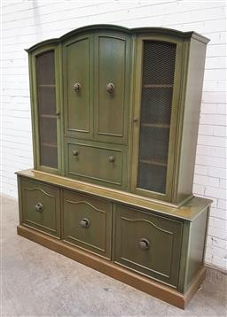 Sale 9134 - Lot 1549 - Green painted timber wall unit with two metal mesh doors (h197 x w181 x d47cm)