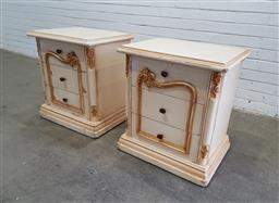 Sale 9134 - Lot 1511 - Pair of French style bedsides with three drawers - H100 (h:64 x w:58 x d:44cm)