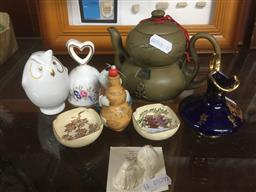 Sale 9152 - Lot 2589 - Sundries incl. 2 Miniature Satsuma Dishes, Snuff Bottle, Owl, Teapot With Container, Bell, etc