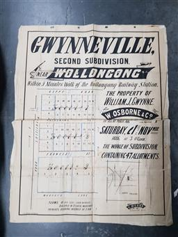 Sale 9152 - Lot 2458 - Land Subdivision Poster Gwynneville Wollongong 21st Nov 1886