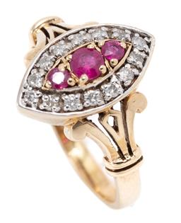 Sale 9168J - Lot 355 - A VICTORIAN STYLE RUBY AND DIAMOND MARQUISE RING; set in 9ct gold with 3 central round cut rubies to navette shape surround of 14 ro...