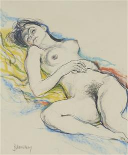 Sale 9170 - Lot 594 - CAMERON BANNERMAN (1919 - 2011) Reclining Nude pastel 44.5 x 37 cm (frame: 67 x 58 x 3 cm) signed lower left