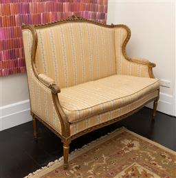 Sale 9248H - Lot 230 - A French couch upholstered in yellow. Width 135 x depth 70 x height of back 70cm.