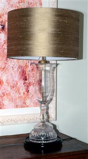 Sale 8048A - Lot 24 - A Large cut glass baluster shaped table lamp with shot silk shade. 91 (h)