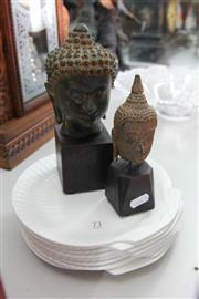 Sale 8112 - Lot 73 - Bronze Buddha Busts Mounted on Stands with Wedgwood Nautilus Plates