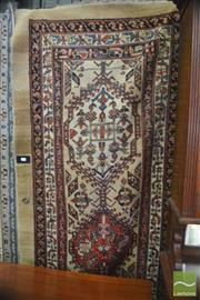 Sale 8335 - Lot 1063 - Antique Persian Runner, with three hooked guls, on a cream field and outer border with scattered boteh (355 x 115cm)