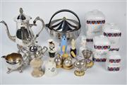 Sale 8381 - Lot 146 - Silver Plated 3-Piece Tea Setting with Other Vintage Kitchenalia incl. Canisters (chip to 1 rim)