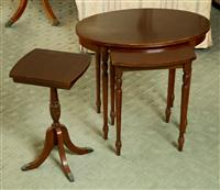 Sale 8392H - Lot 52 - A nest of two occasional tables of oval form together with a smaller example on quadruped legs