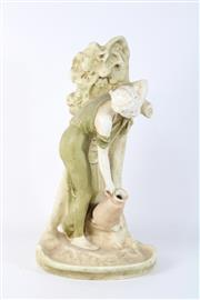 Sale 8748 - Lot 85 - Bisque Style Figure of A Lady with Jug ( H 46cm)