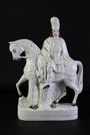 Sale 8940T - Lot 660 - Large Staffordshire figure of rider and horse (H39cm)