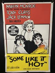 Sale 9003P - Lot 6 - Vintage Movie Poster - Some Like it Hot starring Marilyn Monroe, Tony Curtis and jack Lemmon (H: 100cm x W: 68cm)