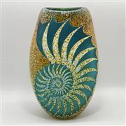 Sale 9031H - Lot 24 - Nautilus hand blown and engraved flat vase by Sean ODonoghue, Noosa Master Glassblower, trained at Waterford Crystal. H 20cm x D 13...