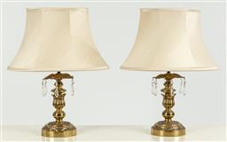 Sale 9099 - Lot 101 - A pair of table lamps with brass Empire style columns and circular bases. Total Height 51cm
