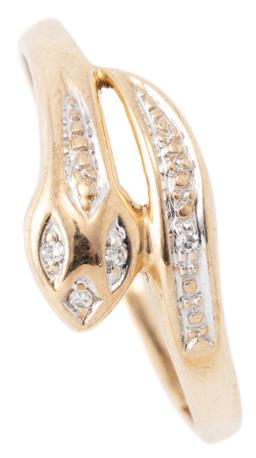 Sale 9149 - Lot 355 - A 9CT GOLD DIAMOND SNAKE RING; head and tail set with single cut diamonds, size M, width 8mm, wt. 0.98g.