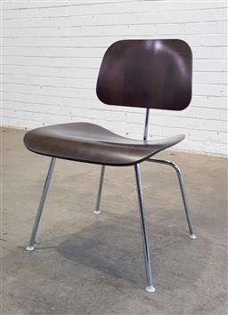 Sale 9171 - Lot 1037 - Eames DCM chair with brown ply and chrome base (h76 x w53 x d50cm)