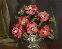 Sale 9170 - Lot 560 - DERMONT HELLIER (1916 - 2009) Floral Still Life in Silver Pot oil on board 39 x 48.5 cm (frame: 48 x 58 x 4 cm) signed lower right