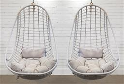 Sale 9174 - Lot 1388 - Pair of swing chairs with metal frame - no hanging stand (h127 x w77cm)